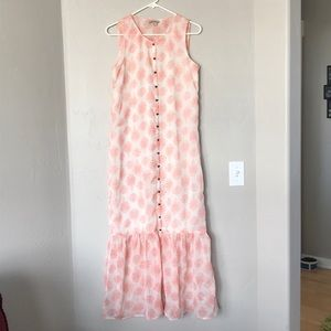 Lucky Brand Ruffle Button Sheer Sleeveless Dress